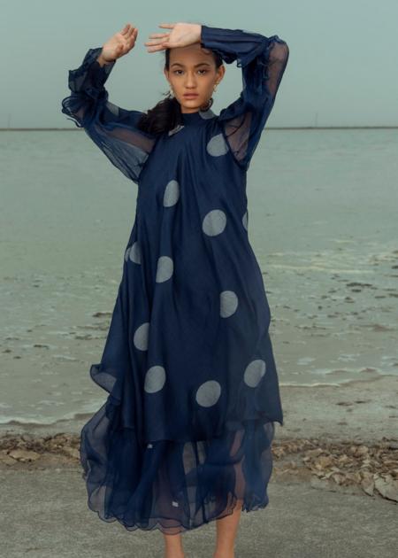 The Loom Art glitch dress - navy