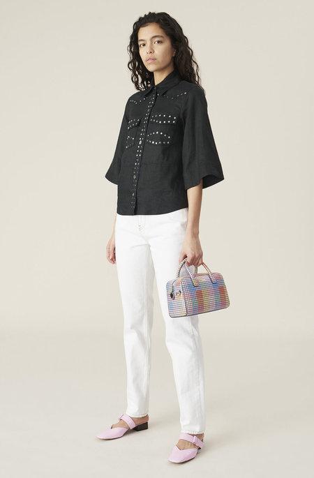 ganni light linen shirt