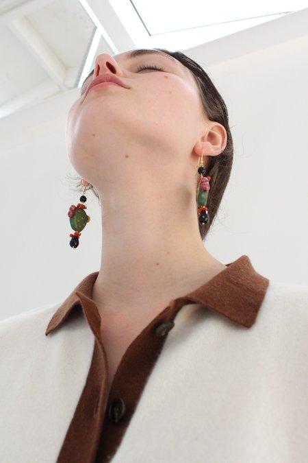Beklina Italian Hand Painted Ceramic Earrings - Cactus