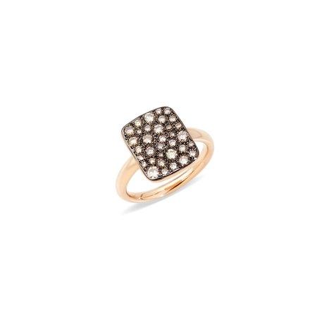 Pomellato Sabbia Rectangular Ring - Rose Gold/Champagne Diamonds