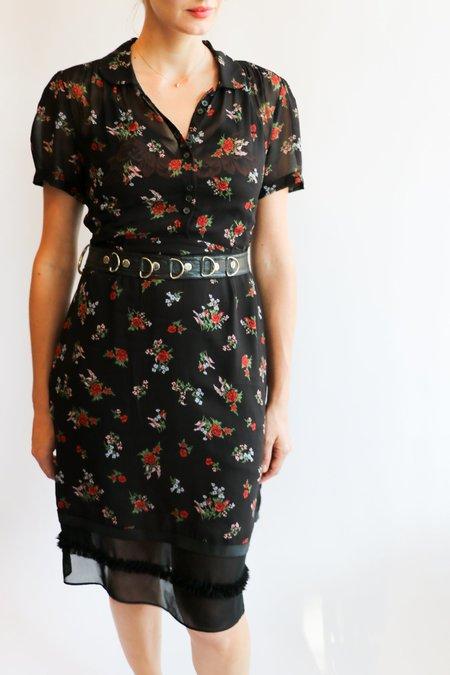 [Pre-loved] Coach Floral Midi Dress - Black Floral