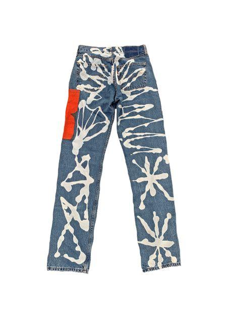 Vintage Levi MOSS TUNSTALL Straight Leg Krasner Jeans - Medium Wash/Red