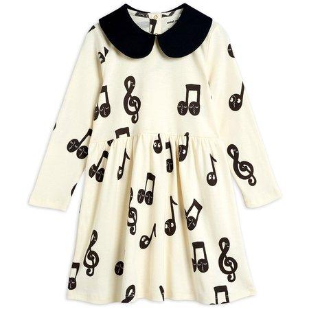 kids mini rodini notes long sleeve dress - off white