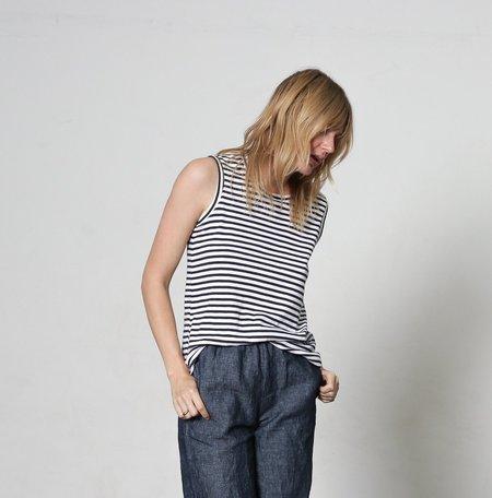 It Is Well L.A. Stripe Muscle Tee - Navy/White