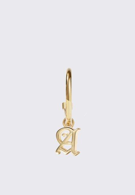 Meadowlark Mini Letter Signature Hoops - gold plated