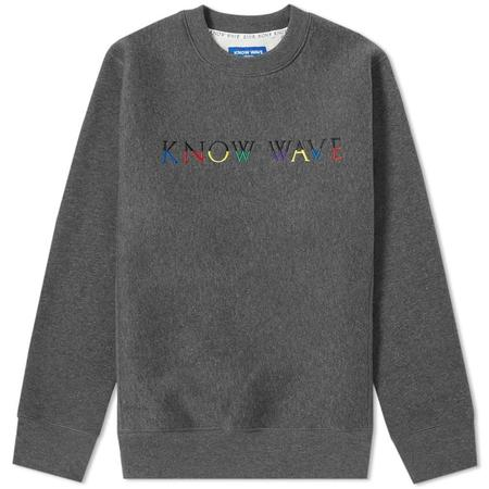 KNOW WAVE Multi Logo Crew Sweater - Charcoal