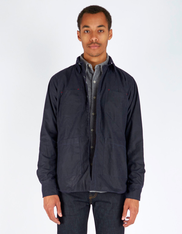 Men's 18 Waits Ramblin' Weekender Jacket Navy Waxed Cotton