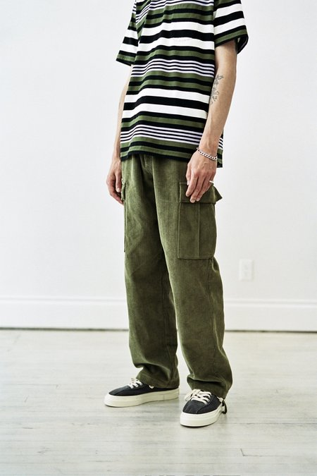 Pop Trading Company Corduroy Cargo Pants - Hunting Green