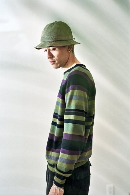 Pop Trading Company Striped Knitted Crewneck - Multicolour