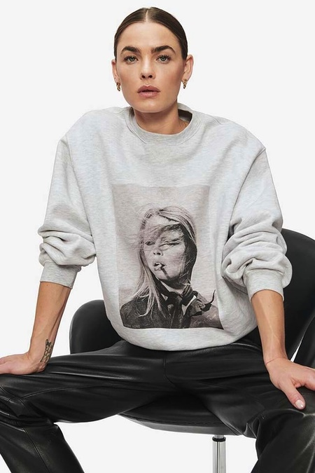 Anine Bing Ramona Sweatshirt - Heather Grey