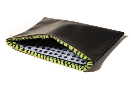 Fashion Rising Collection Vegan Leather/Hand-Batik Large Carry All - Black/Aggie Print Lining