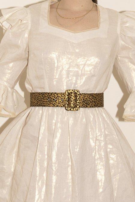 BATSHEVA  Buckled Belt - Gold Coated Abstract Square