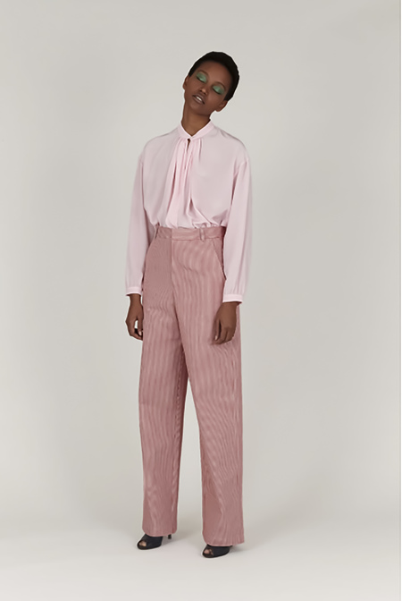 INDRESS Striped Cotton Pants - Red