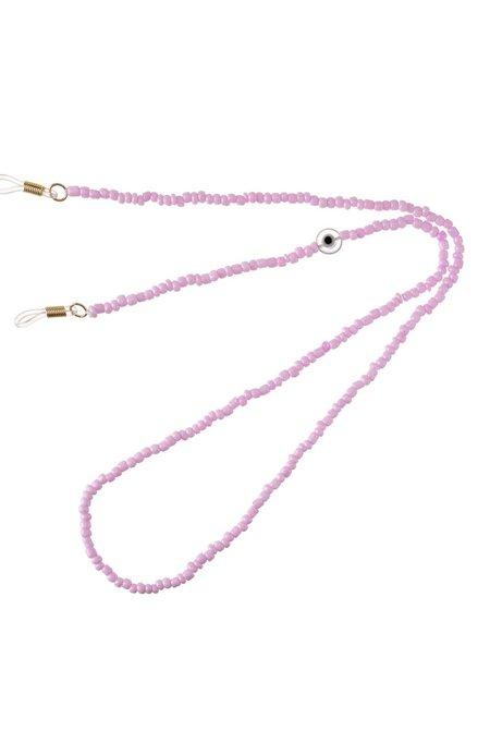 Talis Chains Mini Beads Glazed Clear Evil Eye Bead - Lilac