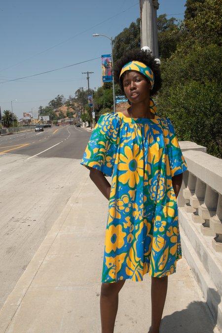 WHiT Mira Dress - Ashbury Floral Yellow/Blue