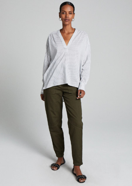 A.L.C. Laurie Top - White/Charcoal Stripe