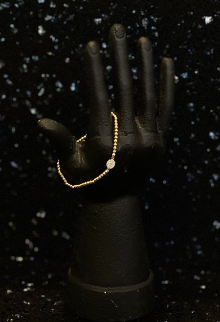 SS JEWELRY Beaded Bracelet with Crystal Pavé - Gold