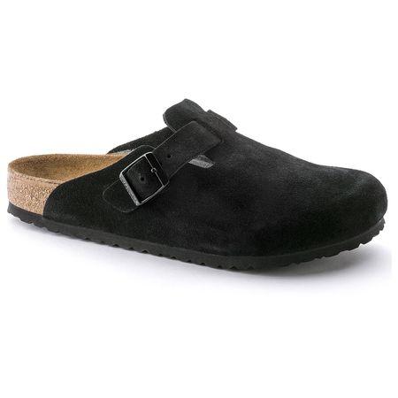 Birkenstock Boston Soft Footbed Suede Leather - Black