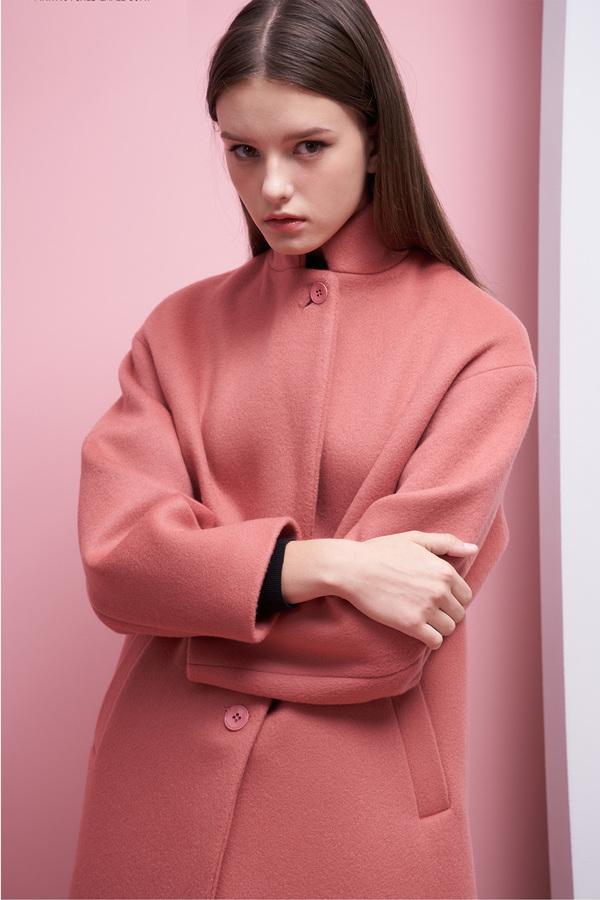LOOKAST Oversized Single Breasted Coat- Blush