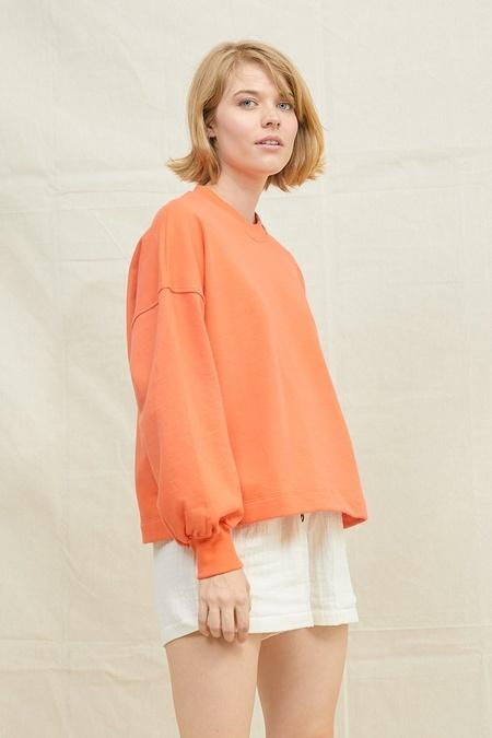 Back Beat Co Puffy Sleeve Sweatshirt - Blood Orange