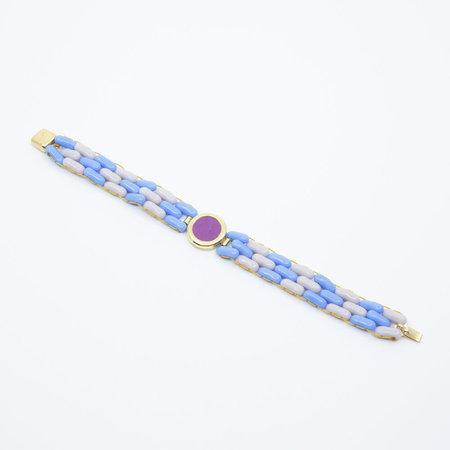 A. Carnevale Glass Bead Bracelet - Blue/Lavender