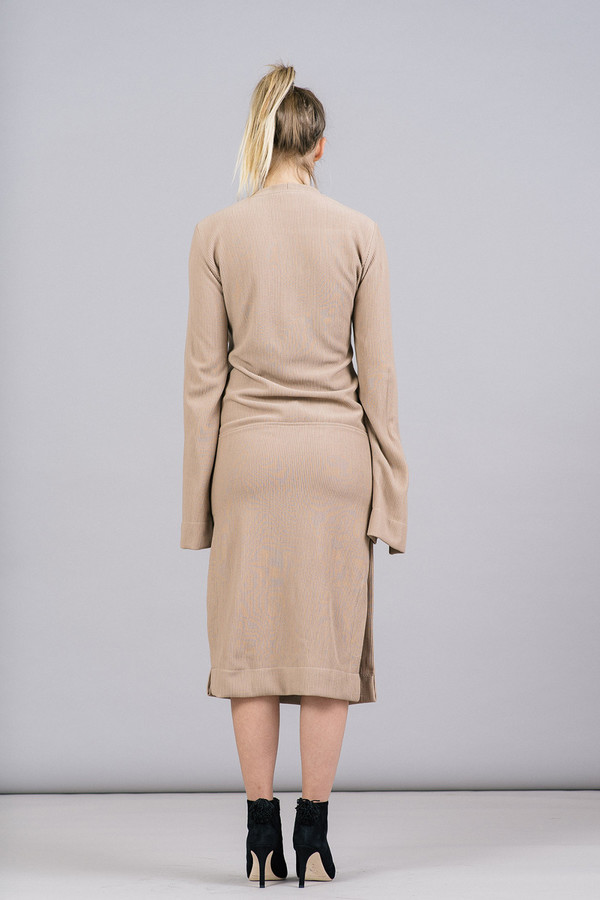 House of Sunny Split Sleeve Rib Dress With Tie Front