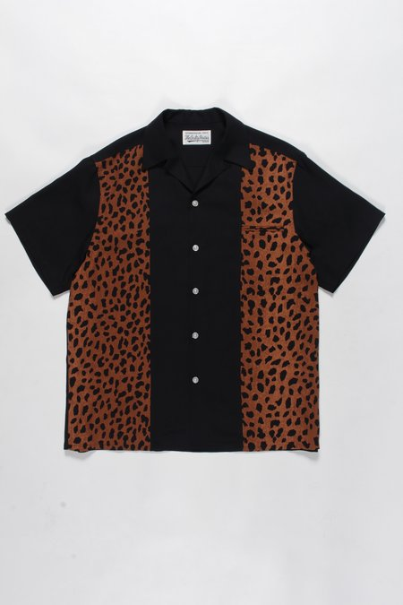 WACKO MARIA Leopard Two Tone Open Collar Shirt - Black/Brown