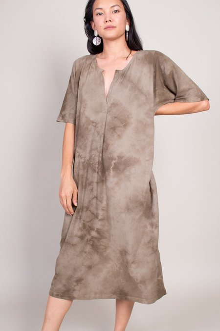Raquel Allegra Ant Fiber Cotton Henley Dress - Army Tie Dye