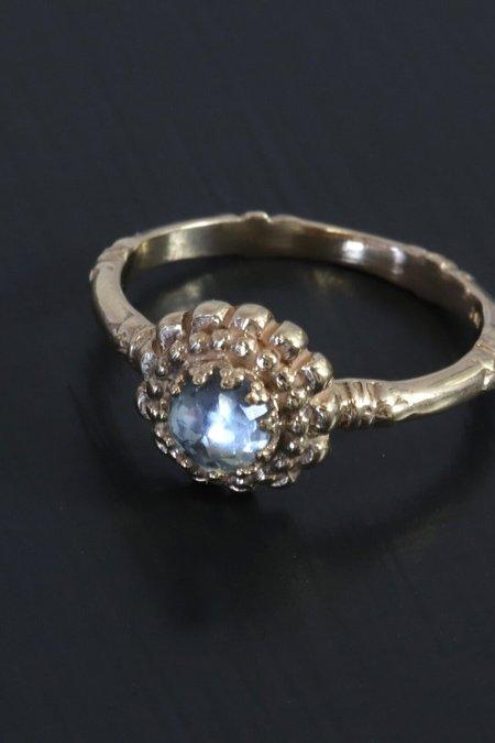Becky Kelso 14K Gold Rose Cut Bezel Blue Topaz Flower Ring