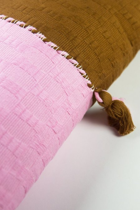 Archive New York Antigua Pillow - Baby Pink/Umber Colorblocked