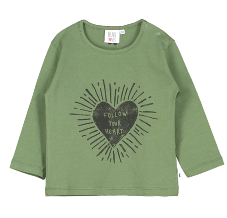 Kids Beau Loves Baby Follow Your Heart Long Sleeve Shirt - Moss Green
