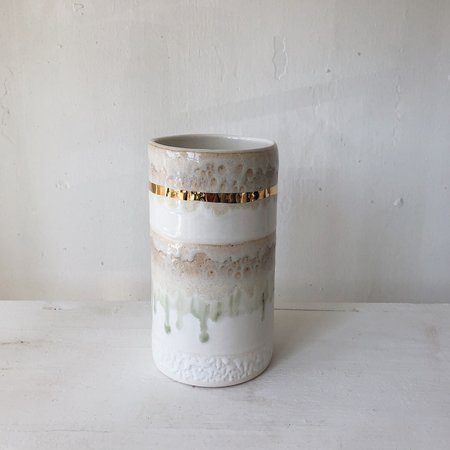 The Object Enthusiast XL Striped Cylinder Vase - White/Gold
