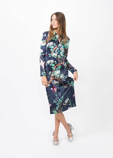 Laura Urbinati Silk Long Sleeve Collared Dress