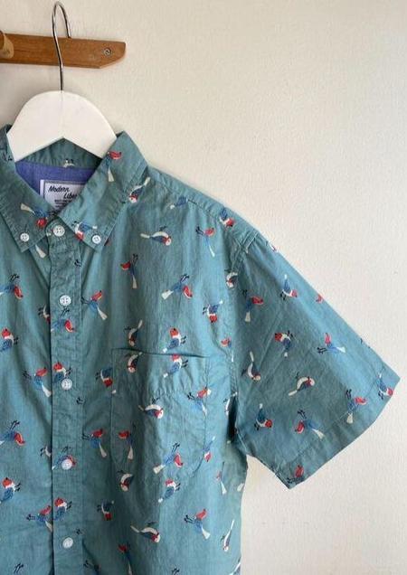 Modern Liberation Bird Print Shirt - Turqoise