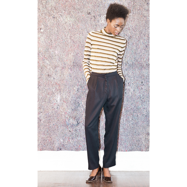 Pari Desai Metallic Stripe Sweater