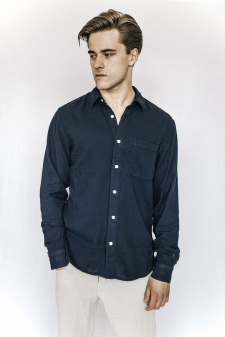 Kato Cotton Gauze Shirt - Navy