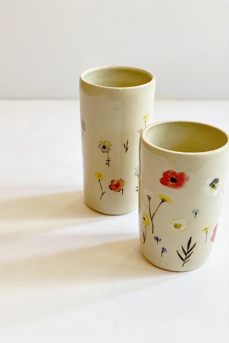 A.Cheng Ceramic Garden Painted Vases