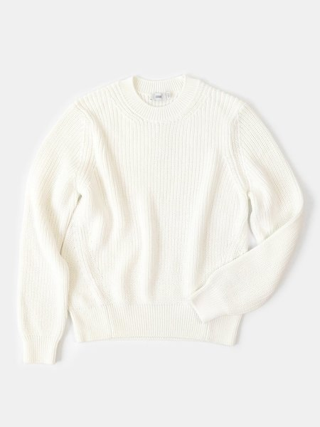 closed chunky knit sweater - ivory