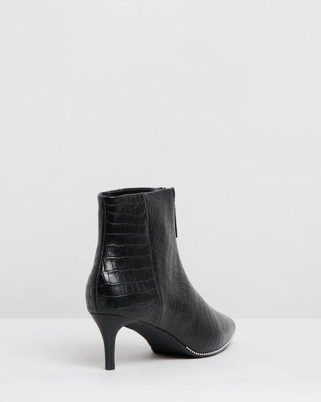 Sol Sana Felix Stud Boot with Zip - Black Croc