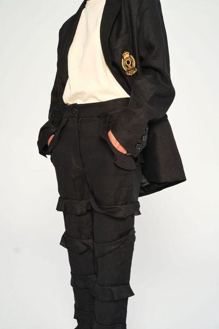 Suzanne Rae Ruffle Leg Pants - Black