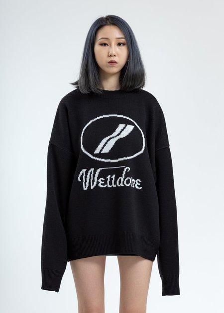 we11done Jacquard Sweater - Black