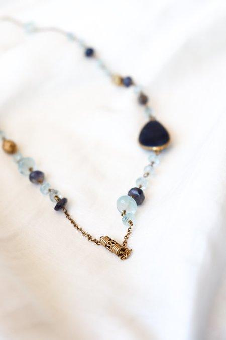 Vasant Aquamarine Sapphire Slice Lolite Wrap Necklace
