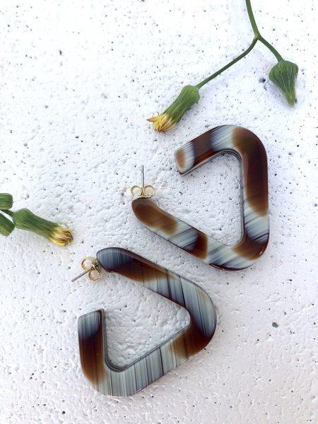 Rachel Comey Webster Hoops - Striped Shell
