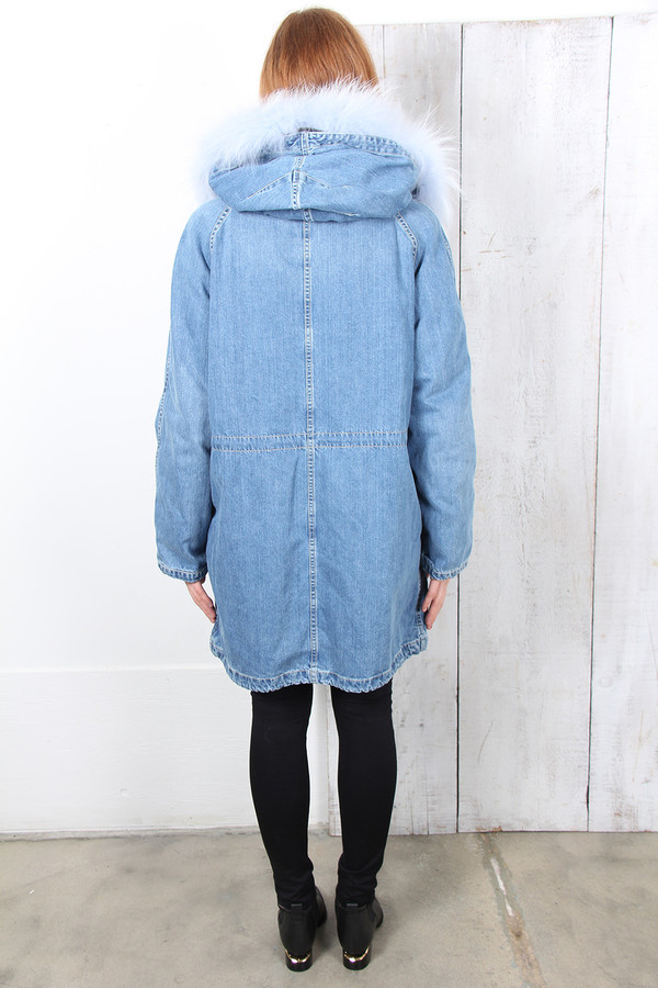 Yves Salomon BLUE FUR-LINED DENIM PARKA