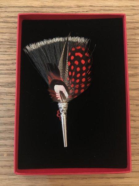 My Bob Feather Brush Brooch - Reds