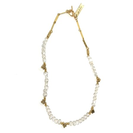 Marijke Bouchier White Pearls with Clover Charms Necklace