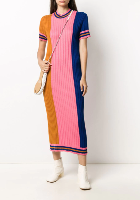Henrik Vibskov Tricolor Ribbed Knit Dress