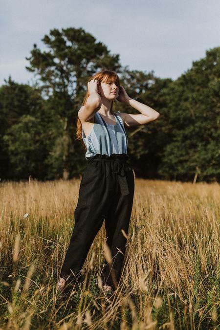 Conrado Wren Linen Paperbag Pants - Black