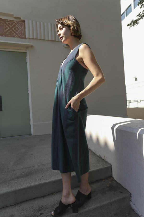 CARLEEN Pleat Shoulder Dress in Green/Graphite