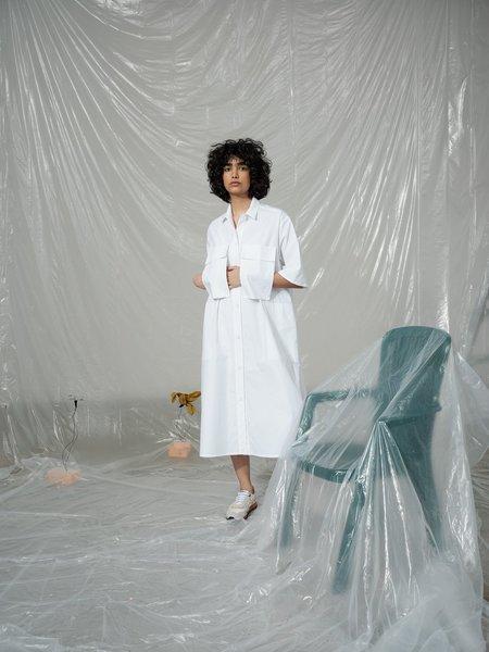 Odeyalo Rhubarbe Dress - Popeline Blanc